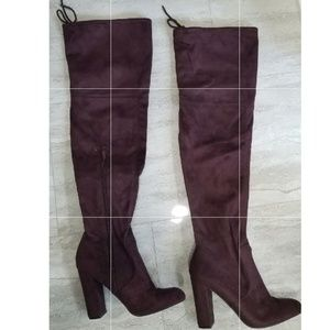 Sexy purple suede thigh high boots like new size 9
